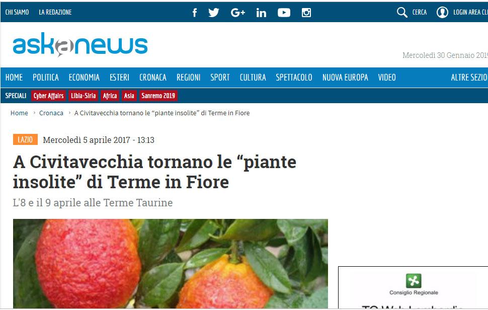 """II edizione – Askanews – """"A Civitavecchia tornano le piante insolite di Terme in Fiore"""""""