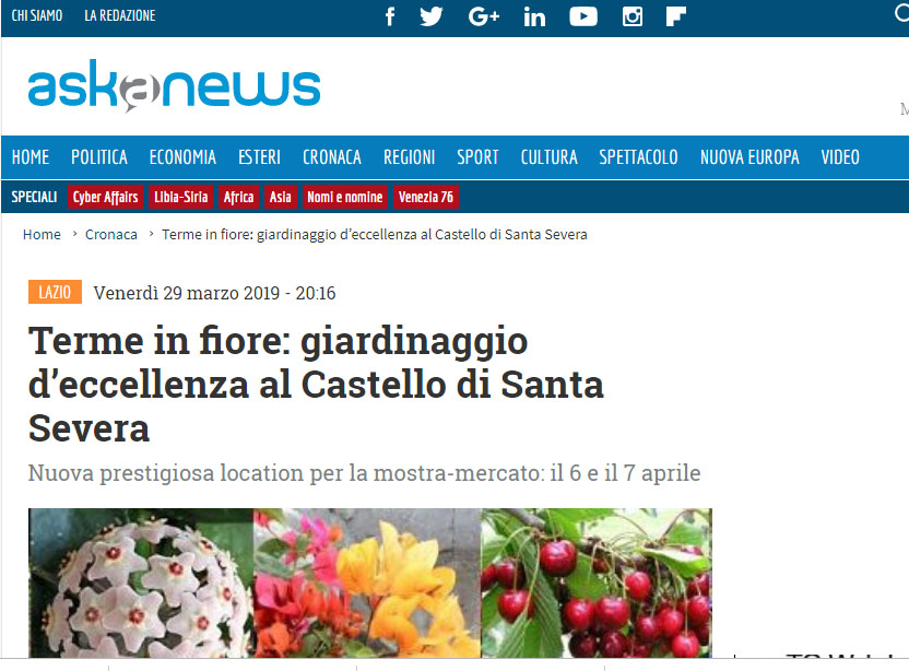 """VI edizione – Askanews """"Terme in fiore: giardinaggio d'eccellenza al Castello di Santa Severa """""""