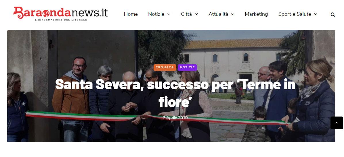 """Rassegna stampa VI edizione – Baraonda News """"Santa Severa, successo per 'Terme in fiore'"""""""